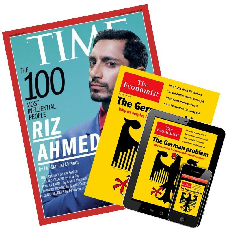 TIME 32期(8個月) + The Economist (紙本+數位) 51期★送TIME數位版+送英文精裝書1