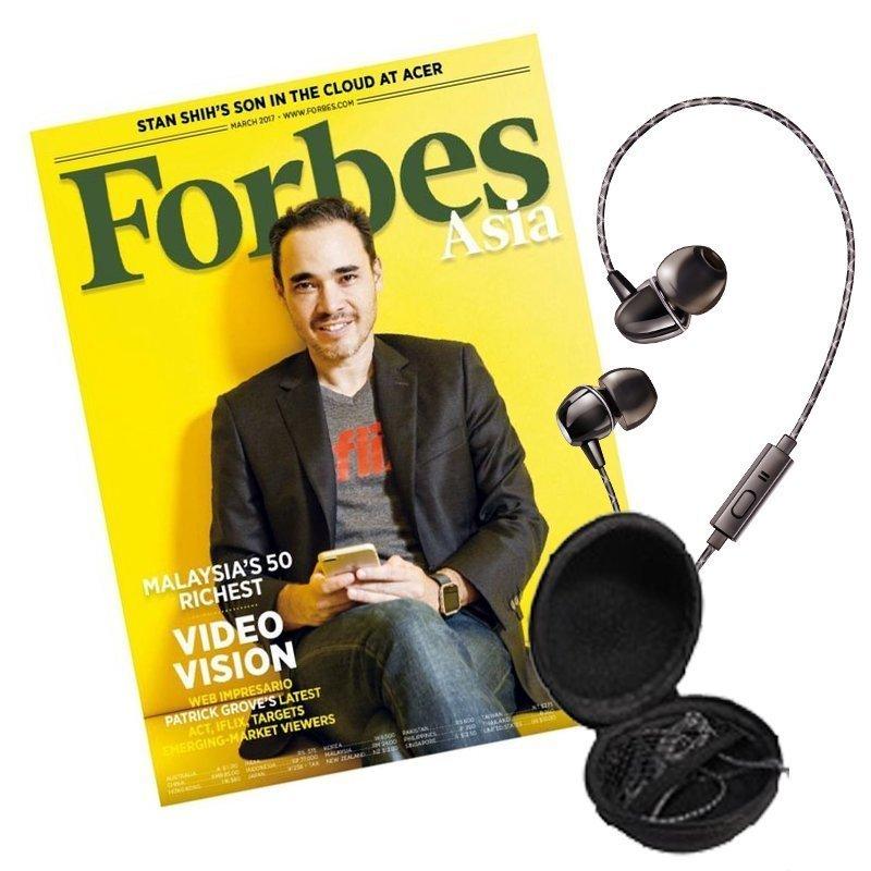 英文《Forbes》ASIA 10期+THOMASON高音質線控耳機(贈品)1